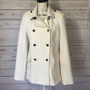 Liz Claiborne Womens White Double Breasted Peacoat
